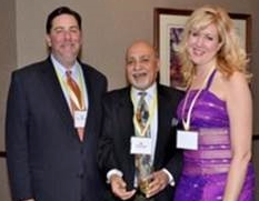 L to R: Pittsburgh Mayor Bill Peduto, Harish Saluja and Katie Jones of Silk Screen Festival in the last year gala.