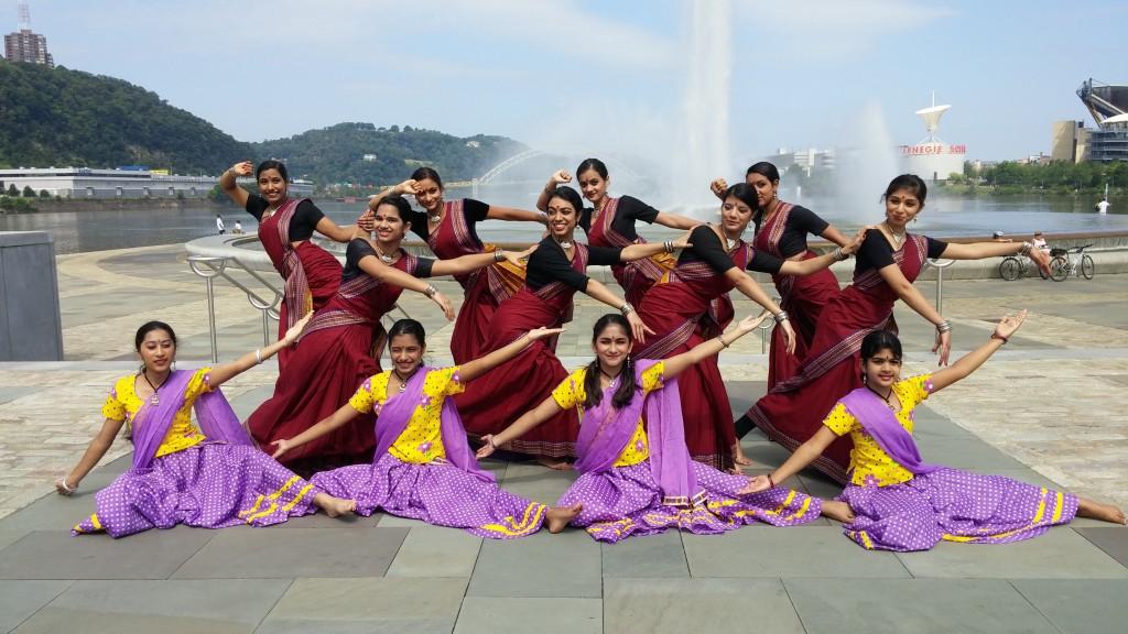 L to R -- Front row : Mythri Sundar, Antara Cleetus, Ashwini Walavalkar, and Janhavi Gan-gisetti. Second row: Kumudini Venkata, Jahnavee Mittal, Sana Mitra, and Sai Bhatte. Third row: Keerthana Lanka, Manasi Jadhav, Roosha Mandal, and Madhumita Mahes.