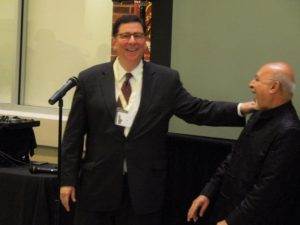 Pittsburgh's Mayor Bill Peduto cracking a Joke with Harish Saluja.