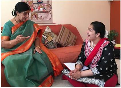 Tani Desai talking to her granddaughter Moha for this article