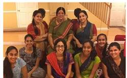 Desai with her students flanked by her granddaughter (left) and Shambhavi her daughter, (right).